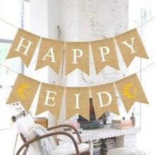 EID moubarak décor heureux Eid lin bannière napperon Ramadan décoration pour la maison musulman Ramadan Kareem événement festif fête fournitures
