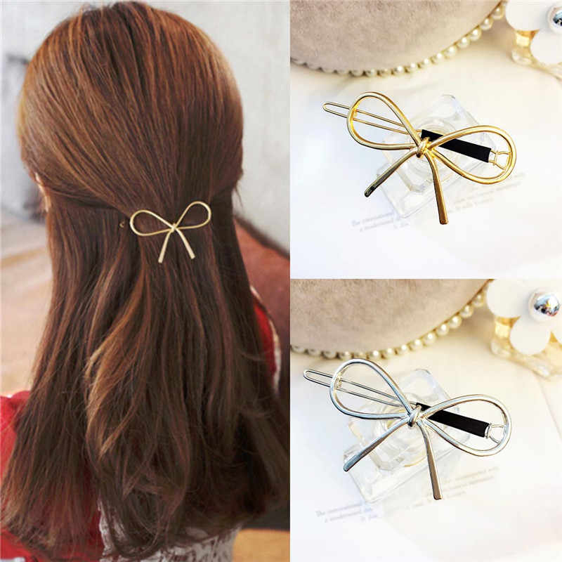 1 Pcs Simple Elegant Wild BowKnot Hair Styling Clips Gold Silver Hollow Metal Hair pin For Women Girls Headwear Hair Accessories