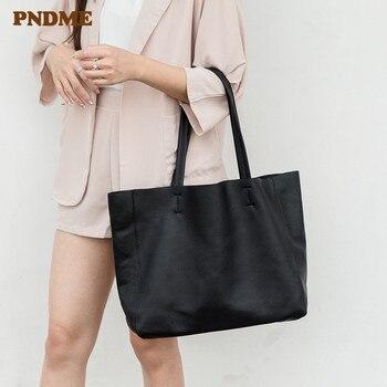 PNDME high quality genuine leather black ladies tote bag casual simple soft cowhide shoulder bag party women's shopping handbag