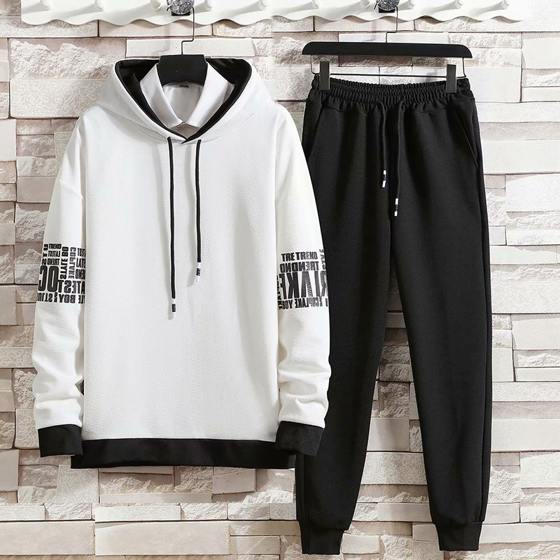 Spring Autumn Men's Sets Hip Hop Long sleeve pullover Hoodies+ Elastic Waist jogger Casual Pants Fashion Sets Men Clothing Sets
