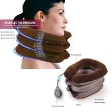 Pescoço maca inflável ar pescoço dispositivo aparelho de tração pescoço macio colar cervical travesseiro dor alívio da dor trator