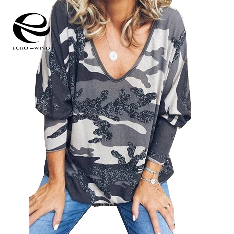 Plus Size 5XL 2019 New Women's Camo Print Hoodie Winter Long Sleeve Casual V Neck Sweatshirt Women's Oversize Clothing Kpop Tops