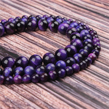 Natural Stone Purple Tiger Eye 15.5 PicBlue Peacockk Size 4/6/8/10/12mm fit Diy Charms Beads Jewelry Making Accessories