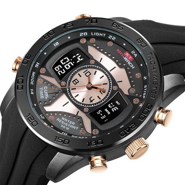 Kt714 الرجال في الهواء الطلق الرياضة مضيئة عمق مقاوم للماء ساعة الإلكترونية ساعة كوارتز الساعات الإبداعية 3