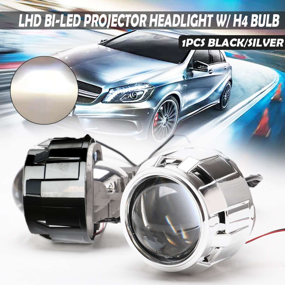 Mofaner LHD 2.5'' Bi-LED Projector Lens Headlight For Auto Car Headlight Retrofit H4 LED Car Styling Headlamp Tuning Retrofit