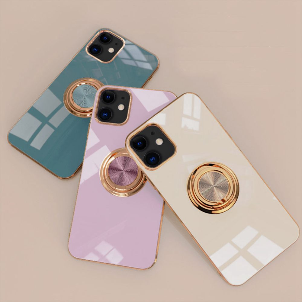 6D Plating Gold Frame Soft TPU Ring Stand Case for iPhone 12