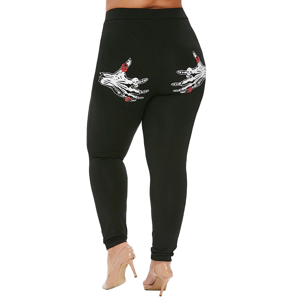 Plus Size High Waist Printed Skinny Leggings Women Slim Long Pants Elastic Waist