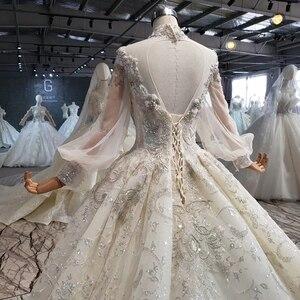Image 5 - Htl1075 겸손한 웨딩 드레스 우아한 높은 목 레이스 다시 크리스탈 구슬 긴 소매 레이스 웨딩 드레스 럭셔리 suknia 2020 lubna
