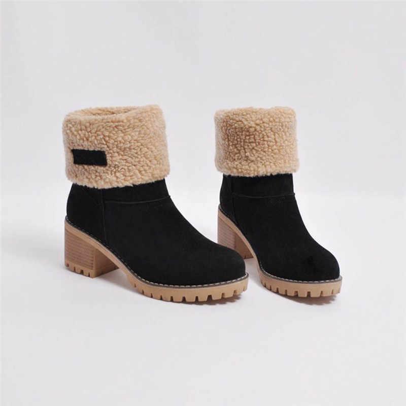 Phụ Nữ Bộ Lông Mùa Đông Ấm Ủng Nữ Len Nam Boot Giày Ankle Boot Giày Thoải Mái Plus Size 35-43 Nữ o1
