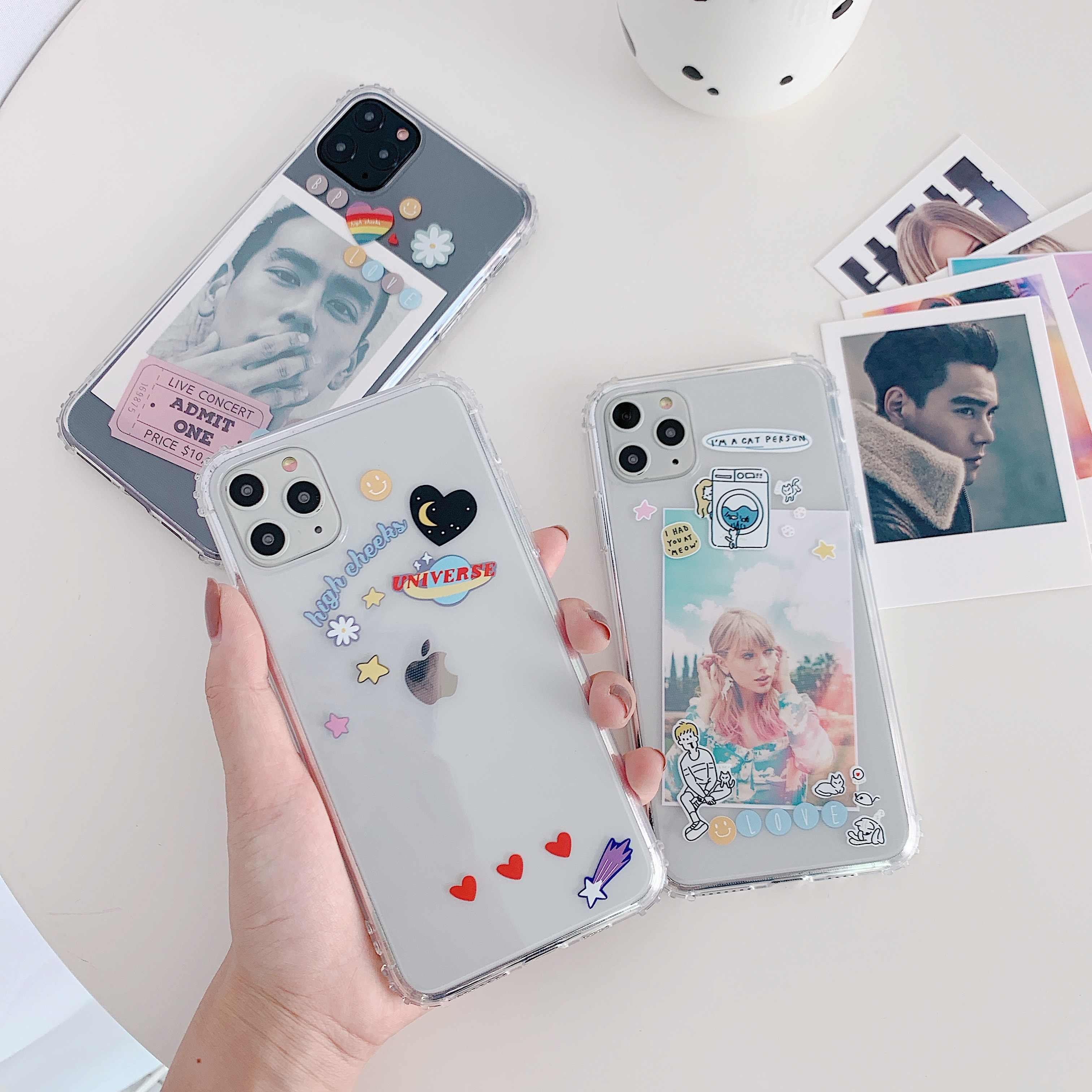 Fashion kawaii koreaanse ins Clear Tpu Telefoon Case cartoon voor iphone XS Max 6 6s 7 8 Plus X XR 11 Pro Max persoonlijkheid foto coque
