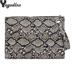 Snake Print Wristlet Clutch Women Daily Sac Bags Purse Soft PU Leather Money Phone Pouch Casual Bags 2021 Hot Selling