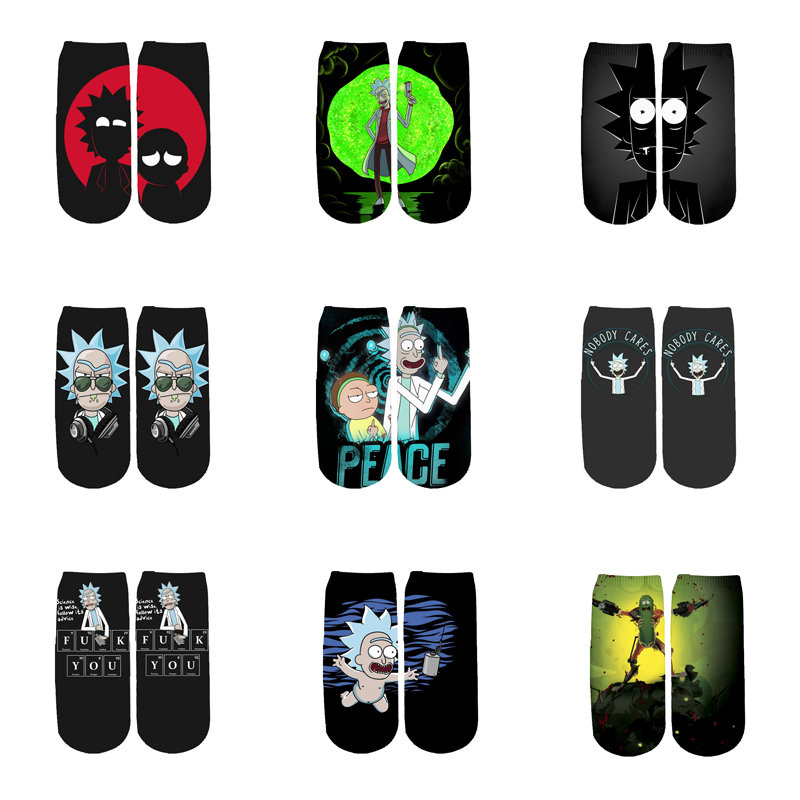 Newest Rick And Morty 3D Printed Cartoon Cute Short Ankle Socks For Men Women Harajuku Korean Socks  RS-002