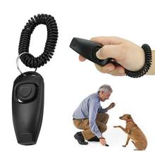 2in1 Dog Pet Puppy Cat Training Clicker Whistle Click Trainer Obedience Black(China)