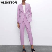 2020 Spring Autumn Sexy V-Neck Women Pants Suit Office Lady Blazer Jacket Coat+Zipper Trousers Two Piece Set Female Work Costume