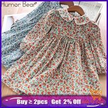 Vestido Floral de las muchachas del oso del Humor 2020 nuevo vestido de las muchachas del bebé vestido de la solapa del estilo universitario de la fiesta ropa de los niños de la manera