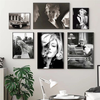 Marilyn Monroe Black & White Pictures Printed on Canvas 2
