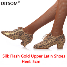 Quality Silk Flash Satin Leopard Print Latin Dance Shoes Women 5cm Heel Ballroom Tango Salsa Socal Dancing Shoes Ladies