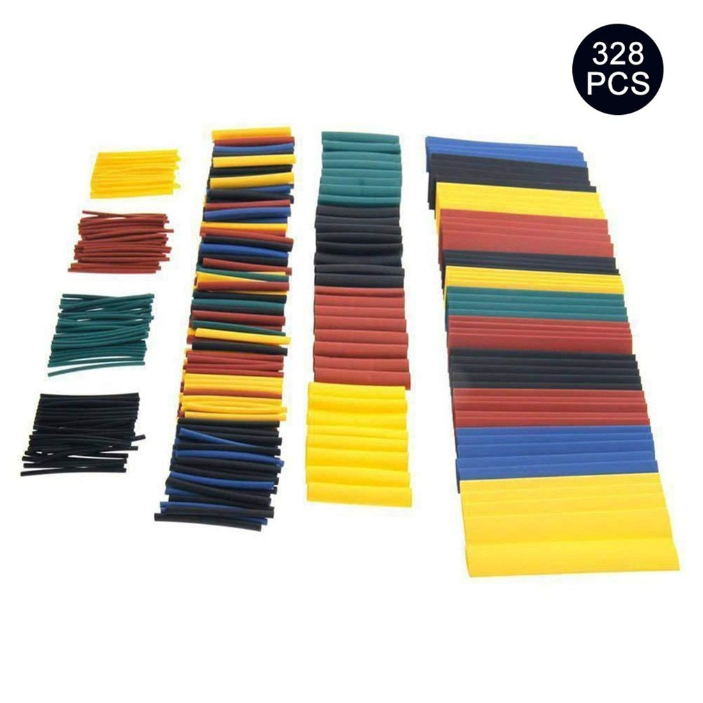 328pcs Cable Heat Shrink Tubing Sleeve Wire Wrap Tube 2:1 Assortment Kit Sleeving Wrap Wire Car Electrical Cable Tube Set