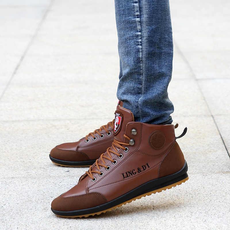 Erkek botları ilkbahar ve sonbahar kış ayakkabı büyük boy B bölümü Botas Hombre deri çizmeler ayakkabı sneakers çizmeler erkek ayakkabısı