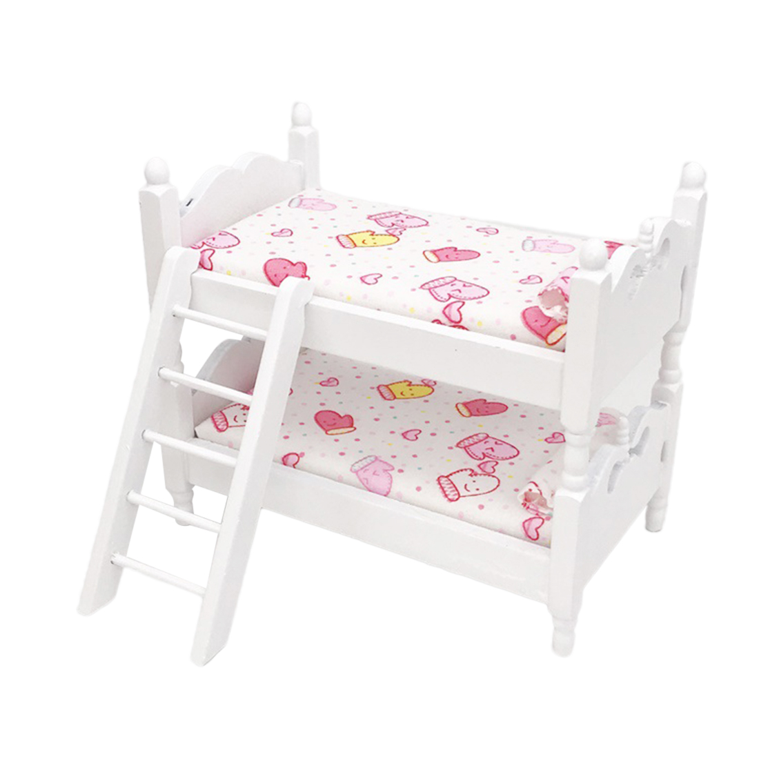 1:12 Miniature Princess Bunk Bed Model Dollhouse Bedroom DIY Kits Purple