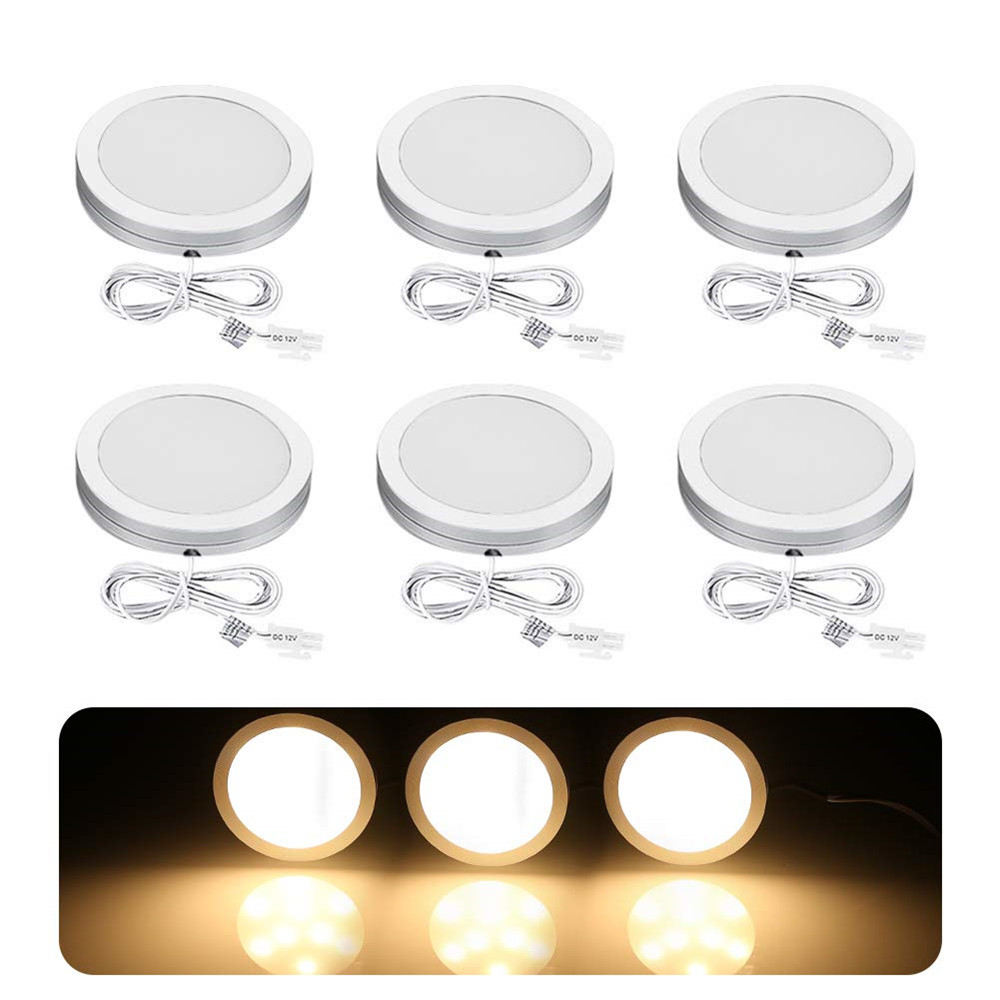 Dimmable 2.5W DC12V LED Under Cabinet Light Aluminum LED Display Case Lights LED Puck Lights For Closet Kitchen Counter Cupboard