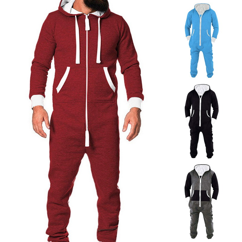 2020 Adults Unisex  Pyjamas Mens Women One Piece Cotton Pajamas Sleepwear  Sleepsuit Red/Blue Pajamas Male New