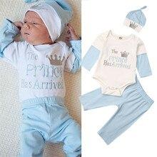 Детский комбинезон с длинными рукавами для маленьких мальчиков и девочек 0-18 месяцев, комбинезон, штаны, шапка, осенняя одежда для малышей, комплект из 3 предметов