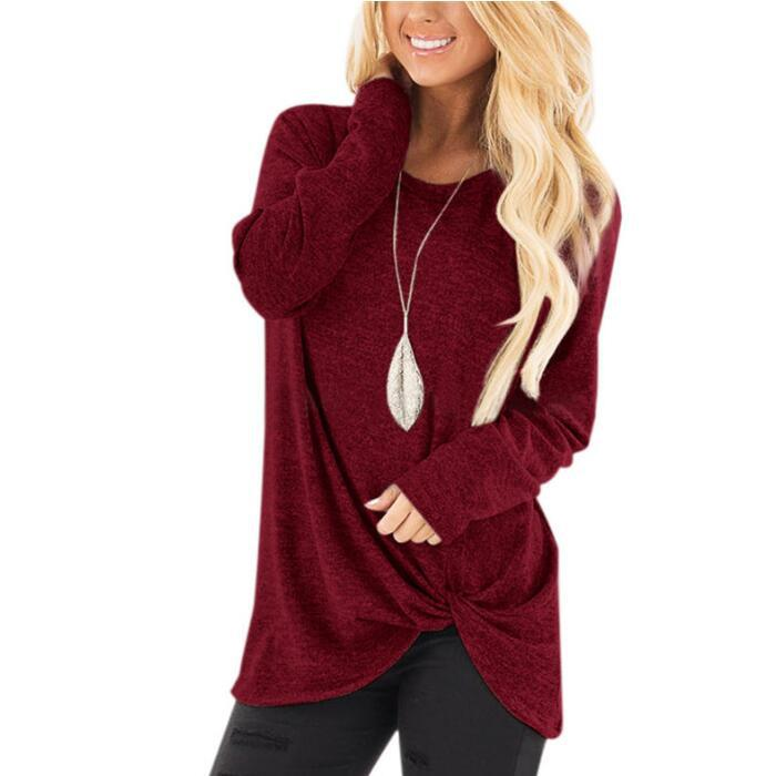 Женская Однотонная футболка с длинным рукавом, Повседневная тонкая осенне-зимняя женская футболка, женская модная Корейская одежда, Черные Серые топы размера плюс - Цвет: Wine Red