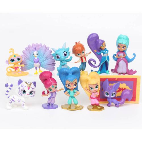 12 PCS Action Figures Toy Garage Kit Toys PVC Dolls Baby Kids Shimmer Children Shine Birthday Cake Decoration Gift
