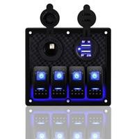 Car Marine Boat 4 Gang Waterproof Circuit Blue 2 LED Rocker Switch Panel Breaker 120x129x72mm 4 Gang Rocker Switch Panel