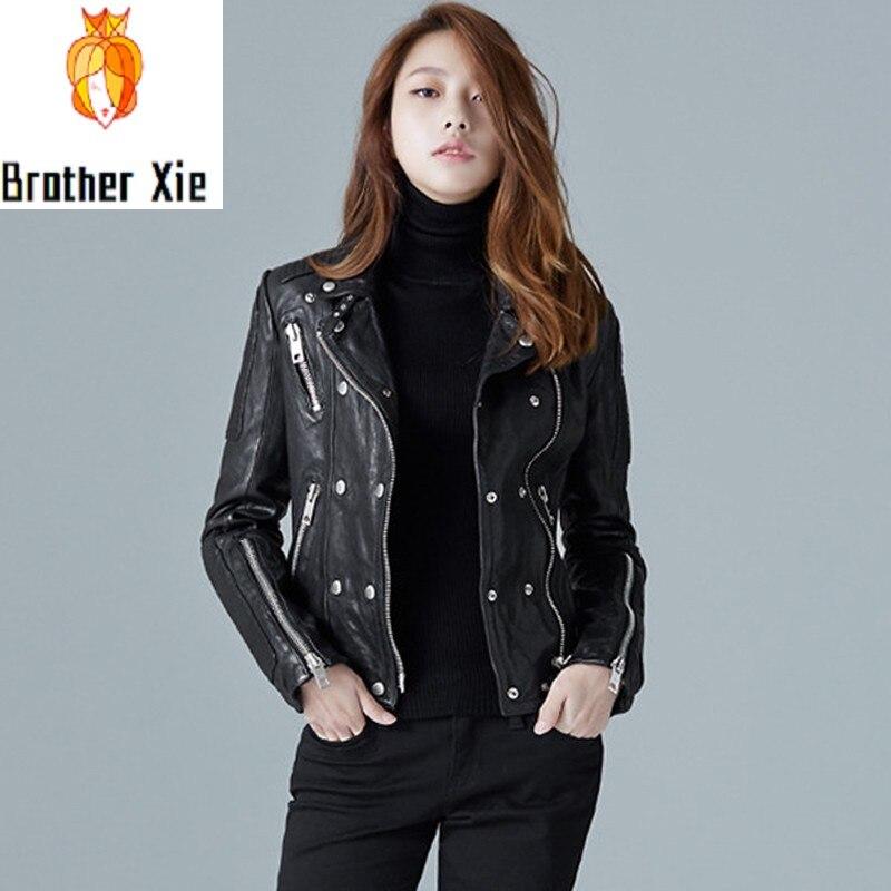 Womens Spring Slim Genuine Leather Jacket European Short Sheepskin Rock Biker Jacket Coat Female Street Style Black Zip Outwear