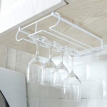Creativo de hierro forjado sostenedor de la taza de vino sin uñas colgante estante de cristal de vino boca abajo armario para tazas soporte para colgar tazas