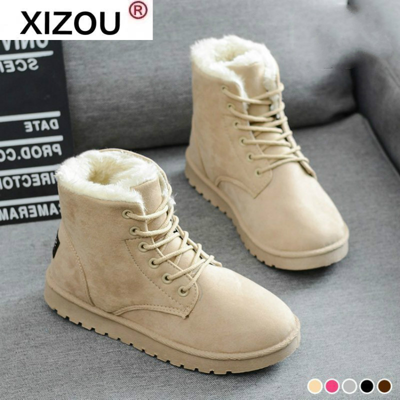 XIZOU Women's Suede Ankle Boots Women Plush Snow Boots Flat Lace-up Winter Boot Platform Ladies Warm Shoes Flock Female Non Slip