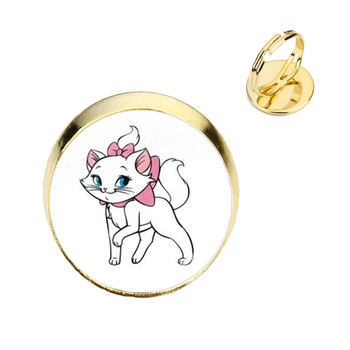 Anime Cartoon Cat Glass Cabochon Rings The Aristocats Cute Kids Jewelry Marie Cat Fashion Ring For Women Girls Kids Gift image