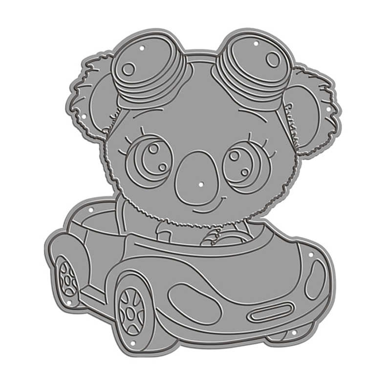 2020 3D New DIY Koala Driving Car Metal Cutting Dies Cartoon Animal Scrapbooking For 3D Paper Decorative Embossing Stencil Cards