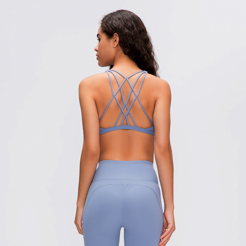 Sexy Strappy Back Yoga Sports Bra For Women Push Up Running Bras Padded Low Impact Gym Workout Bra Tops Cute Fitness Top