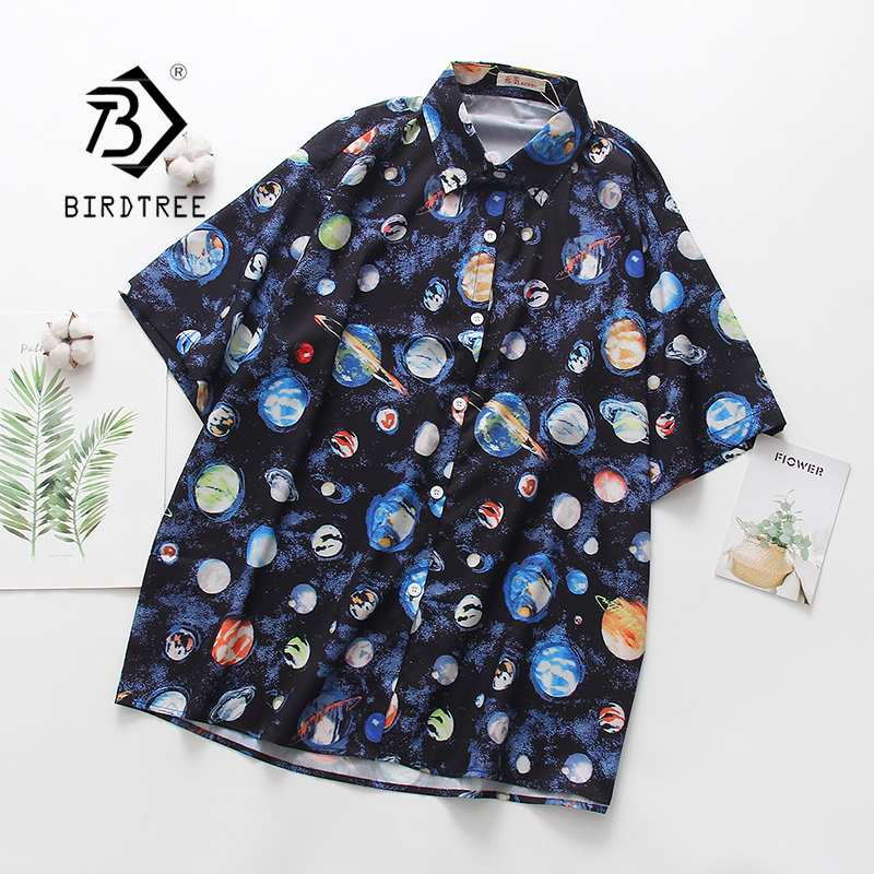 2020 Summer New Women Planet Print Blouse Short Sleeve Turn-down Collar Beach Shirt Vintage Oversize Tops Feminina Blusa T01121T