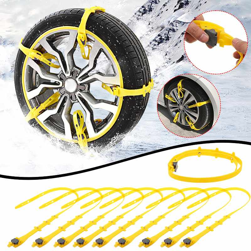 Upgrade 175-285cm Universial Car Snow Chains Wheel Tyre Tire Anti-skid Chains Winter Use TPU Nylon Beef Tendon Off-road Vehicle