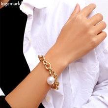 Ingemark богемный имитация жемчужина кулон браслет женские свадебные