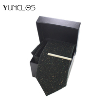 YUNCLOS Business Casual 3 Pieces Men Tie Jacquard Wedding&Meeting Outgoing Suit Fast Delivery (Tie+Tie Clip+Square Scarf