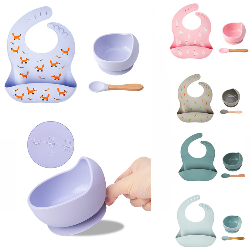 Baby Silicone Feeding Bibs Bowl Spone Tableware Waterproof Non-Slip Crockery BPA Free Silicone Dishes For Baby Bowl Baby Plate 1