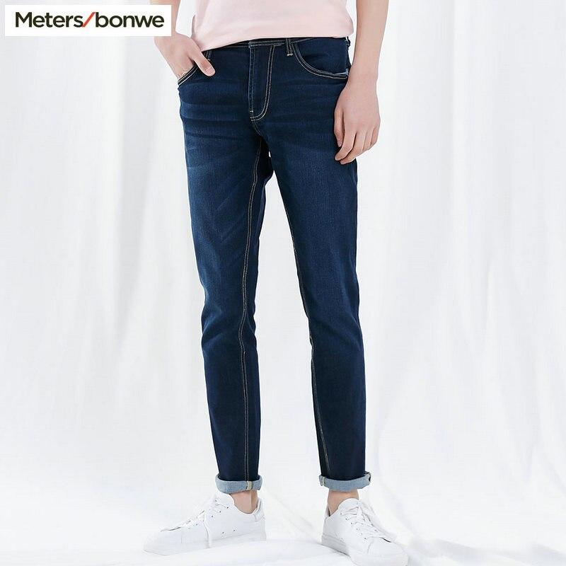 Metersbonwe прямые джинсы мужские Весна Осень Новые повседневные Молодежные трендовые тонкие джинсы мужские s брюки мужские брюки - Цвет: Dark Blue