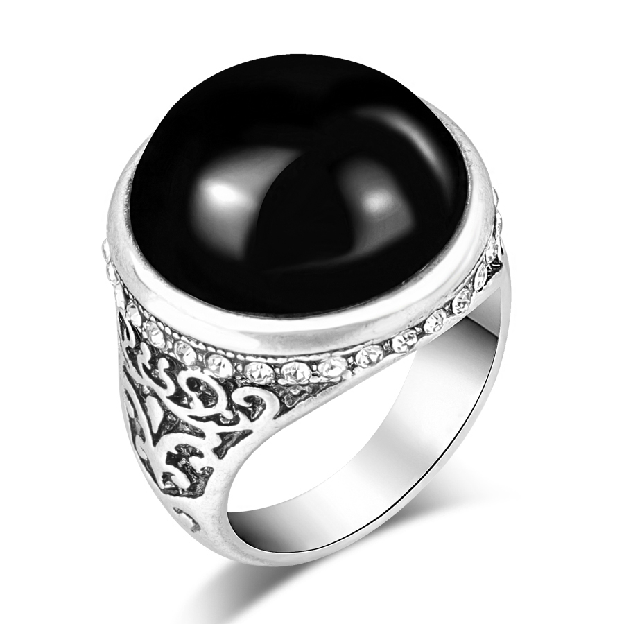 Wbmqda-Fashion-Flower-Band-Round-Natural-Stone-Rings-For-Women-Vintage-Look-Antique-Silver-Color-Men