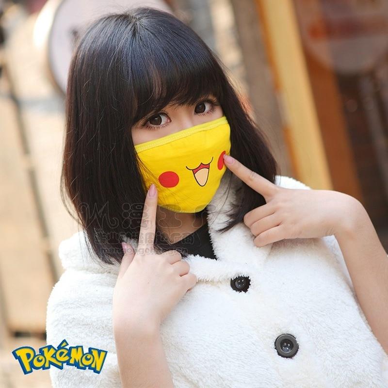 Pokemon Mask Pikachu Women Masks Anime Cosplay Men Mouth Face Mask Cute Funny Cartoon Kawaii Fashion Personality Winter Comfort