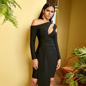 Image 5 - Adyce 2020 nouveau hiver à manches longues robe de pansement femmes Sexy évider une épaule Mini noir Club célébrité soirée robe de soirée
