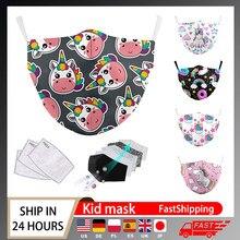 Máscara de boca infantil unicórnio bonito rosa dos desenhos animados máscara protetora pm2.5 filtro máscara facial lavável reutilizável unisex algodão mascarilla