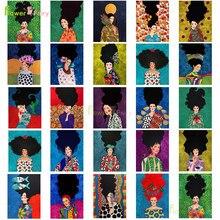 Abstracto flor de cabelo mulher arte da parede pintura da lona moderna menina nórdico poster cuadros quadros parede para sala estar sem moldura