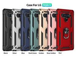 На Алиэкспресс купить чехол для смартфона for lg stylo 6 luxury armor phone case magnetic ring stand holder hard pc tpu shockproof case for lg stylo 5 silicone back capa