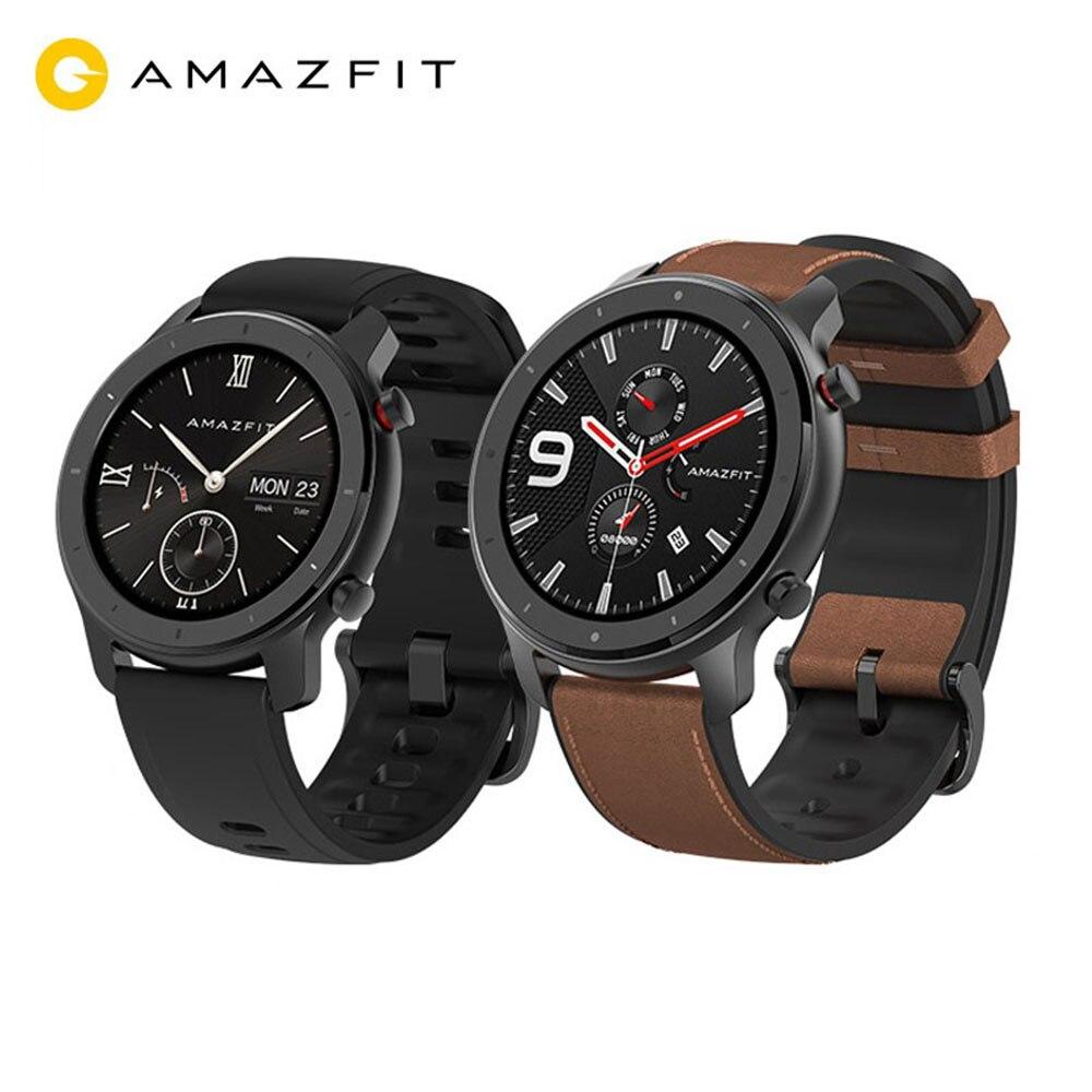Versión Global Amazfit GTR 47mm reloj inteligente 5ATM reloj inteligente impermeable 24 días batería GPS Control de música correa de silicona de cuero