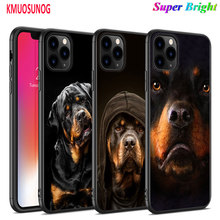 Black Silicone Case Cool Rottweiler for iPhone 11 11Pro XS MAX XR X 8 7 6S 6 Plus 5S Gloss Phone Cover